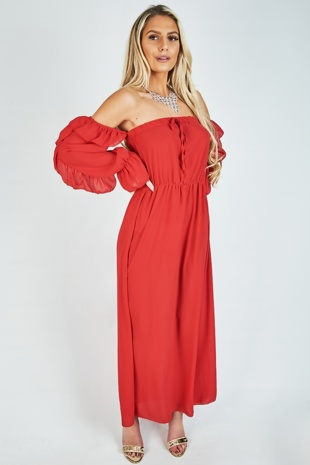 Red Tie Front Ruffle Detail Bardot Maxi Dress