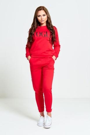 Red Vogue Print Tracksuit Set
