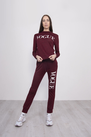 Wine Marl Vogue Slogan Loungewear Set