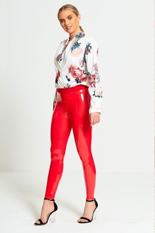 Red Wet Look Leggings