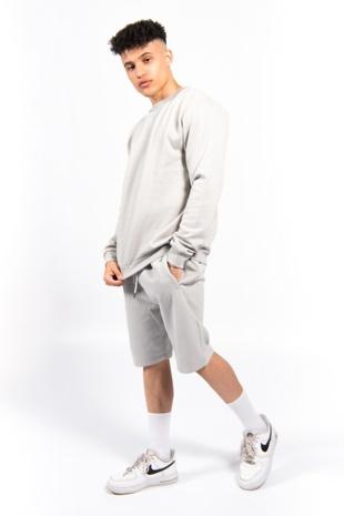 Grey Sweatshirt and Shorts Set