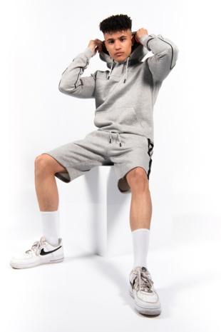 Grey Zip Detail Shorts Hoodie Set