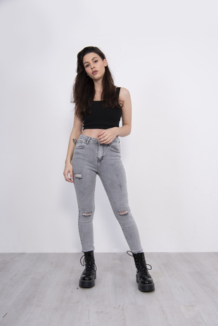 Washed Grey Distressed High Waist Skinny Jeans