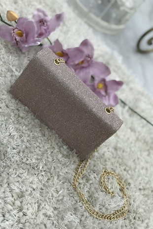 Rose Gold Glitter Cross Body Bag