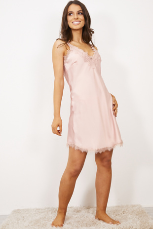 Rose Satin Floral Lace Trim Cami Dress