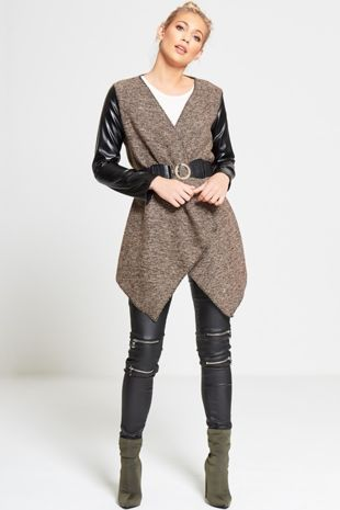 Brown Marl Knit Belted Cardigan