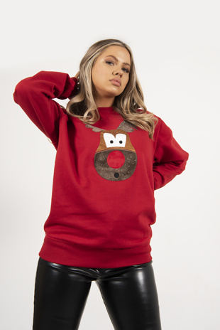 Red Novelty Glitter Reindeer Jumper