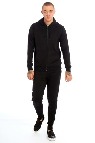 Mens Black Contrast Piping Detail Zip Up Skinny Fit Tracksuit