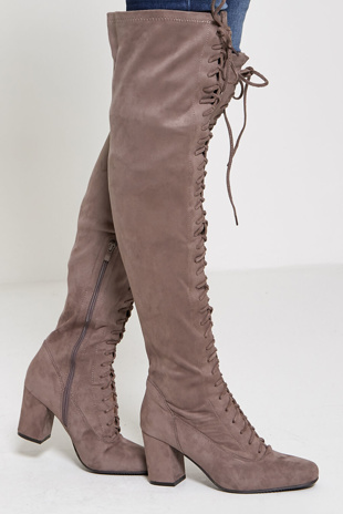 Beige faux suede thigh high lace up boots