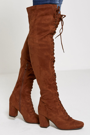 Camel faux suede thigh high lace up boots