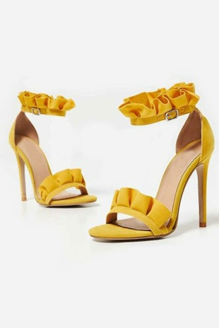 Yellow Faux Suede Frill Barely There Heels