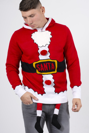 Mens red Santa costume Christmas jumper