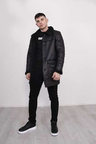 Mens Black Sherpa Lined Faux Leather Jacket