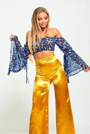 Sheer Blue Leopard Print Bardot Crop Top