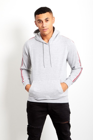 Grey Mens Sleeve Striped Hooded Top