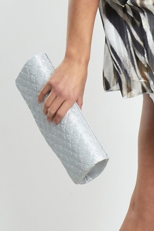 Silver Fancy Hand Clutch Bag
