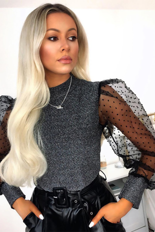 Silver Glitter Puff Sleeve High Neck Top