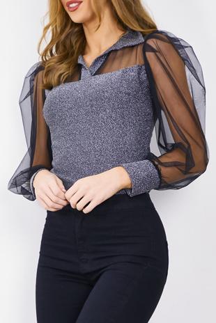 Silver Glitter Sheer Puff Sleeve Bodysuit