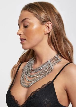 Silver Layered Diamante Necklace