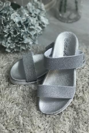 Silver Glitter Sparkly Sandals