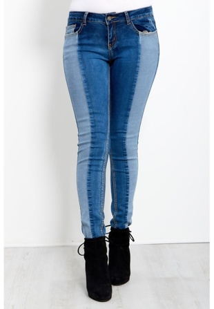 Skinny Fit Jeans With Double Shade
