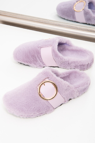 Purple Faux Fur Buckle Detail Mule Slipper