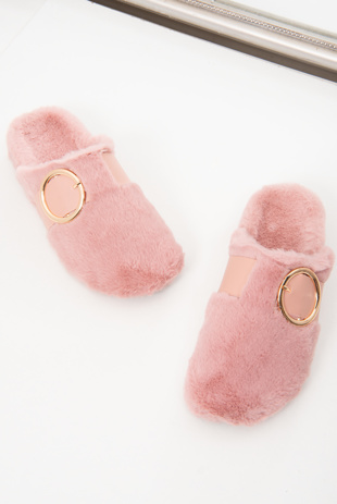 Pink Faux Fur Buckle Detail Mule Slipper