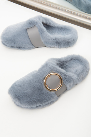 Grey Faux Fur Buckle Detail Mule Slipper