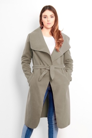 Stone Tie Front Shawl Collar Coat