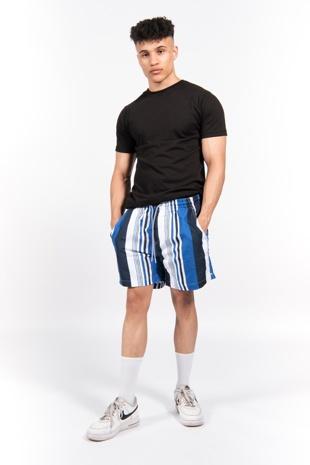 Blue Crete Striped Swim Short