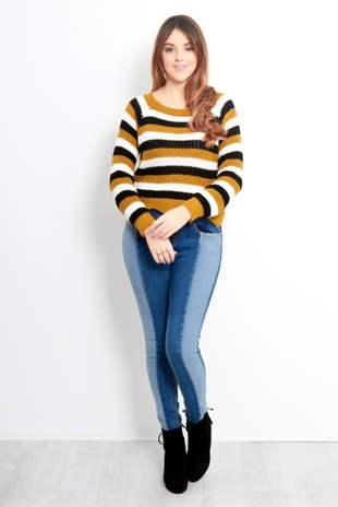 Stripey Zig Zag Cut Crop Jumper