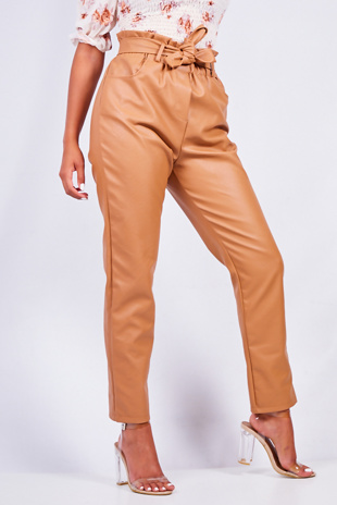 Tan Pu Paperbag Waist Tapered Trouser