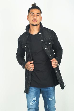 Mens Black Washed Denim Distressed Jacket