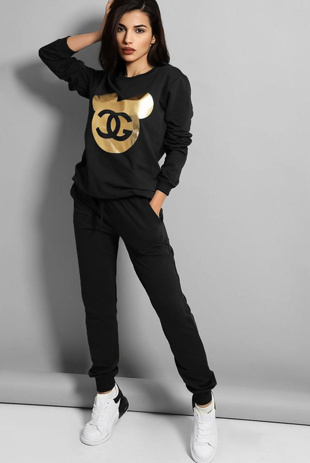 Black Gold Foil Mickey Print Tracksuit