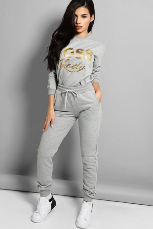 Grey Boss Lady Print Tracksuit