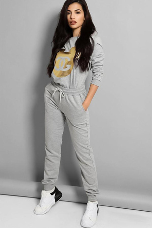 Grey Gold Foil Mickey Print Tracksuit