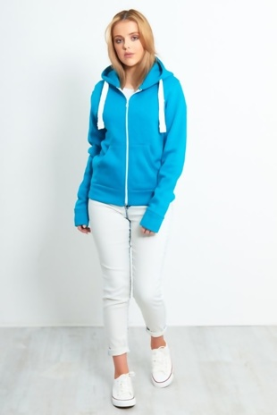 Turquoise Basic Hooded Jacket