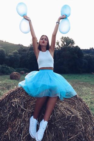 Turquoise Tulle Mesh Skater Skirt