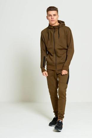Mens Khaki Zip Through Contrasting Panel Hooded Tracksuit