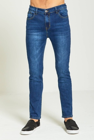 Mens Aarhon Dark Denim Skinny Jeans