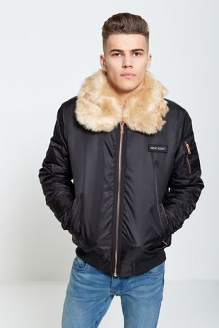 Mens Black Faux Fur Collar Bomber Jacket