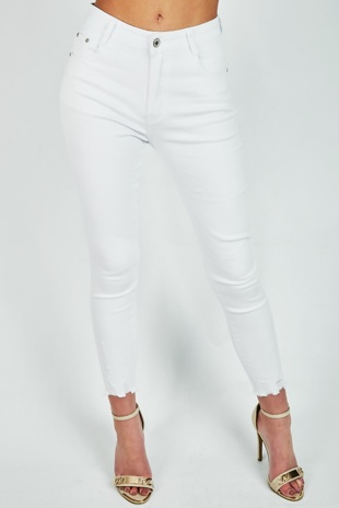 White 5 Pockets Raw Hem Skinny Jeans