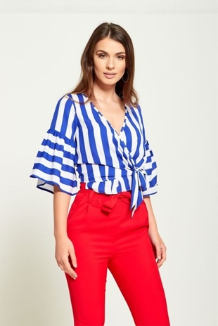 White and Blue Striped Wrap Blouse