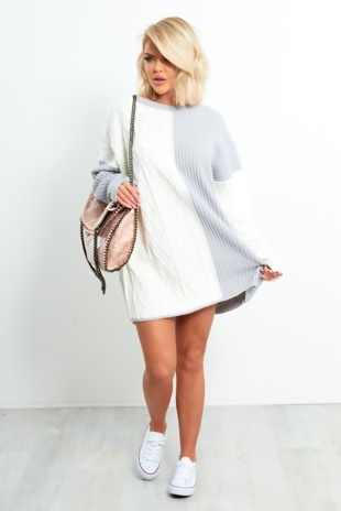 White and Grey Over sized Knitted Dress