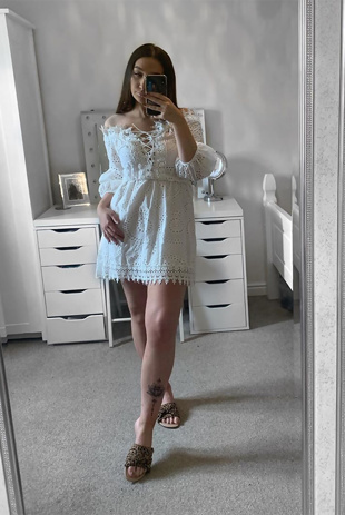 White Bardot Lace Embroidery Tie Up Front Mini Dress