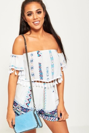 White Bardot Style Aztec Print Co-Ords