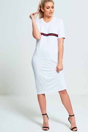 White Basic T-shirt Dress With Stripe Detail