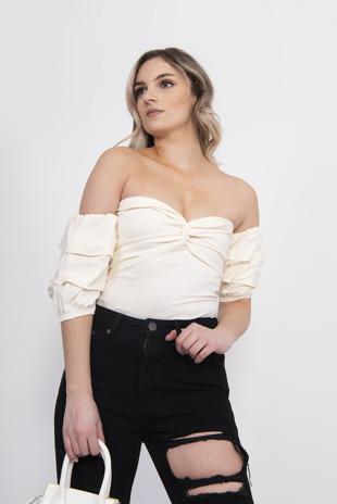 Cream Woven Bardot Ruched Bodysuit
