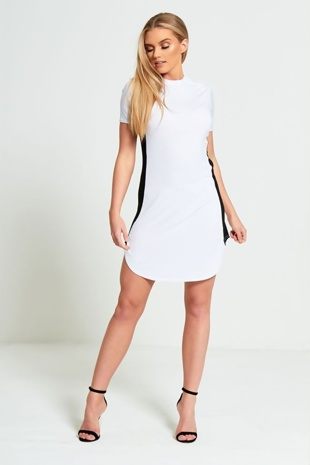 White Bodycon Black Panel Mini Dress