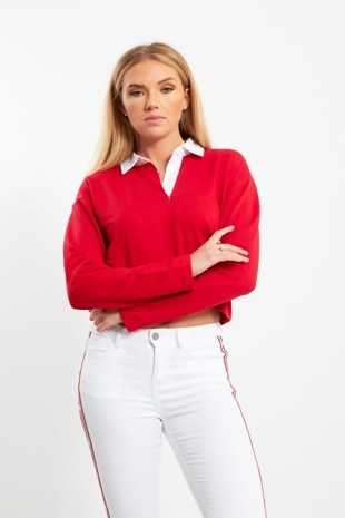 White Collar Polo Long Sleeve Crop Top